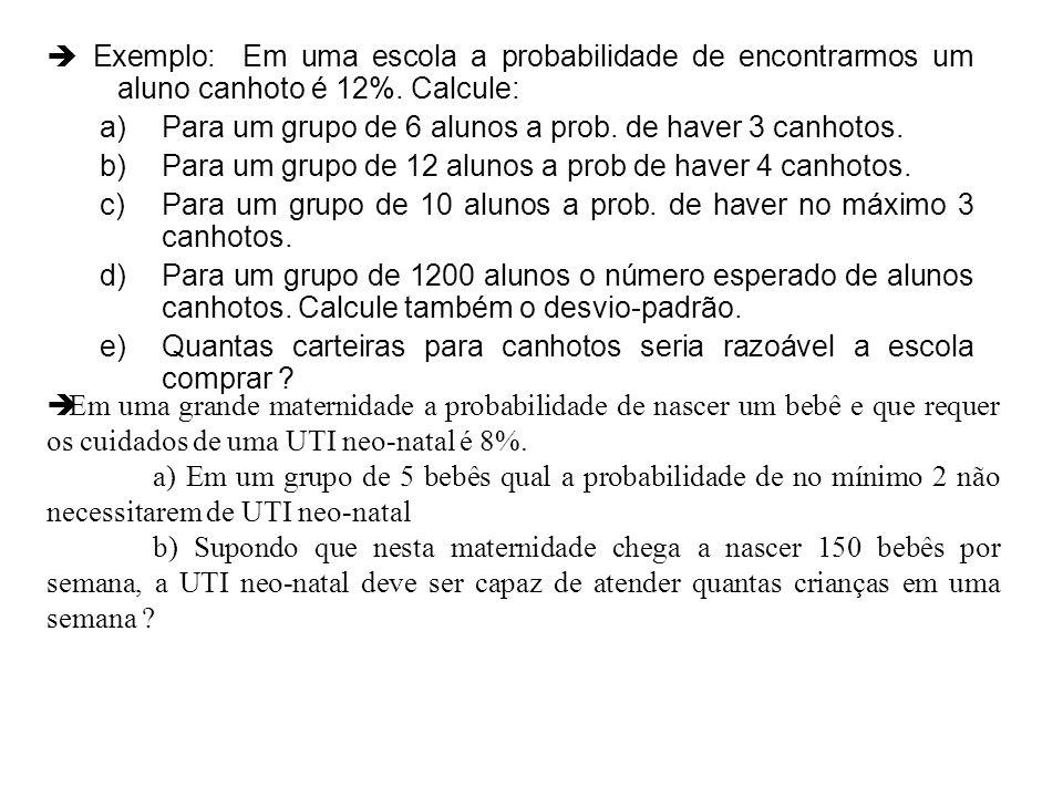 Exemplo: Em uma escola a probabilidade de encontrarmos um aluno canhoto é 12%. Calcule: a)Para um grupo de 6 alunos a prob. de haver 3 canhotos. b)Par