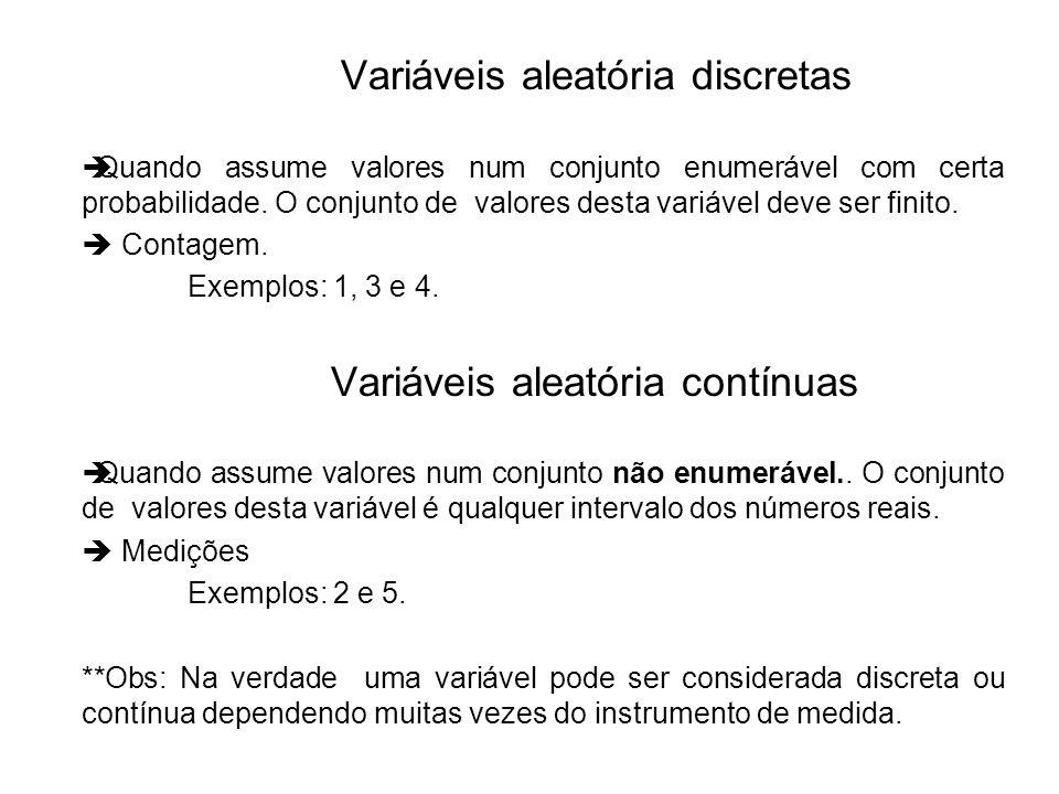 Quando assume valores num conjunto enumerável com certa probabilidade. O conjunto de valores desta variável deve ser finito. Contagem. Exemplos: 1, 3