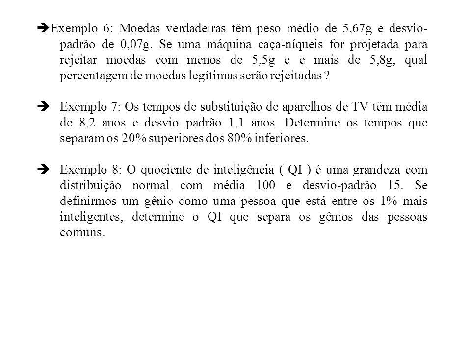 Exemplo 6: Moedas verdadeiras têm peso médio de 5,67g e desvio- padrão de 0,07g. Se uma máquina caça-níqueis for projetada para rejeitar moedas com me