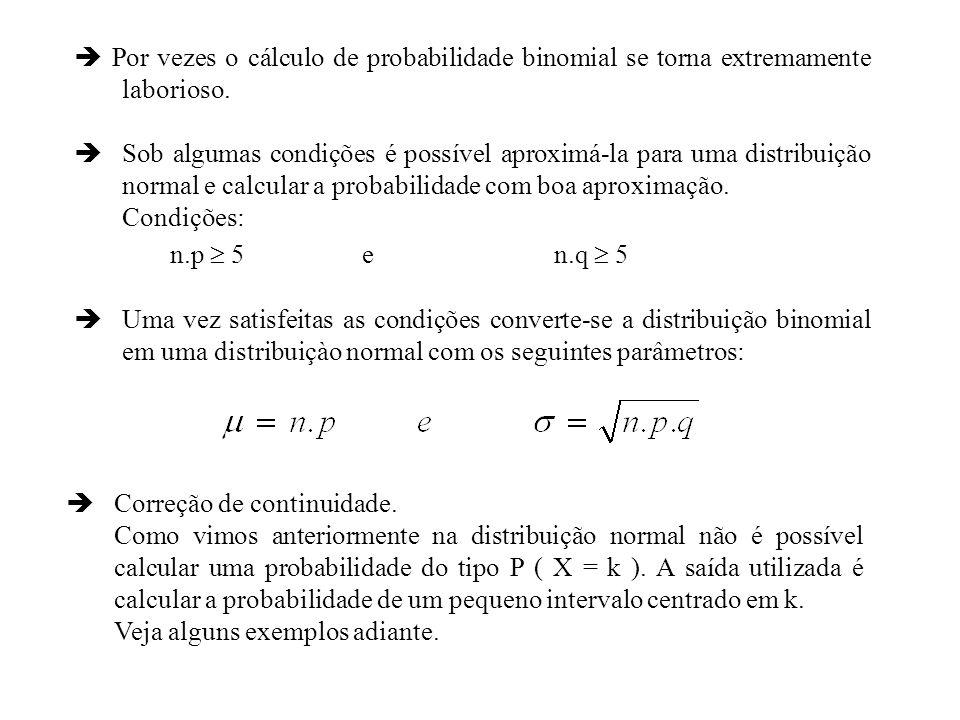 Por vezes o cálculo de probabilidade binomial se torna extremamente laborioso. Sob algumas condições é possível aproximá-la para uma distribuição norm