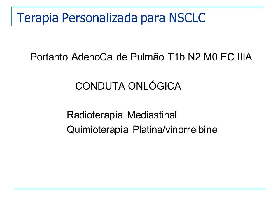 Terapia Personalizada para NSCLC Portanto AdenoCa de Pulmão T1b N2 M0 EC IIIA CONDUTA ONLÓGICA Radioterapia Mediastinal Quimioterapia Platina/vinorrel