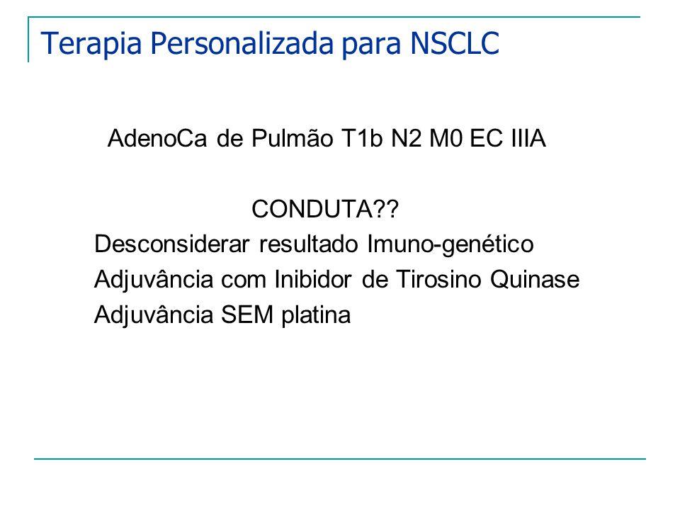 Terapia Personalizada para NSCLC AdenoCa de Pulmão T1b N2 M0 EC IIIA CONDUTA?? Desconsiderar resultado Imuno-genético Adjuvância com Inibidor de Tiros