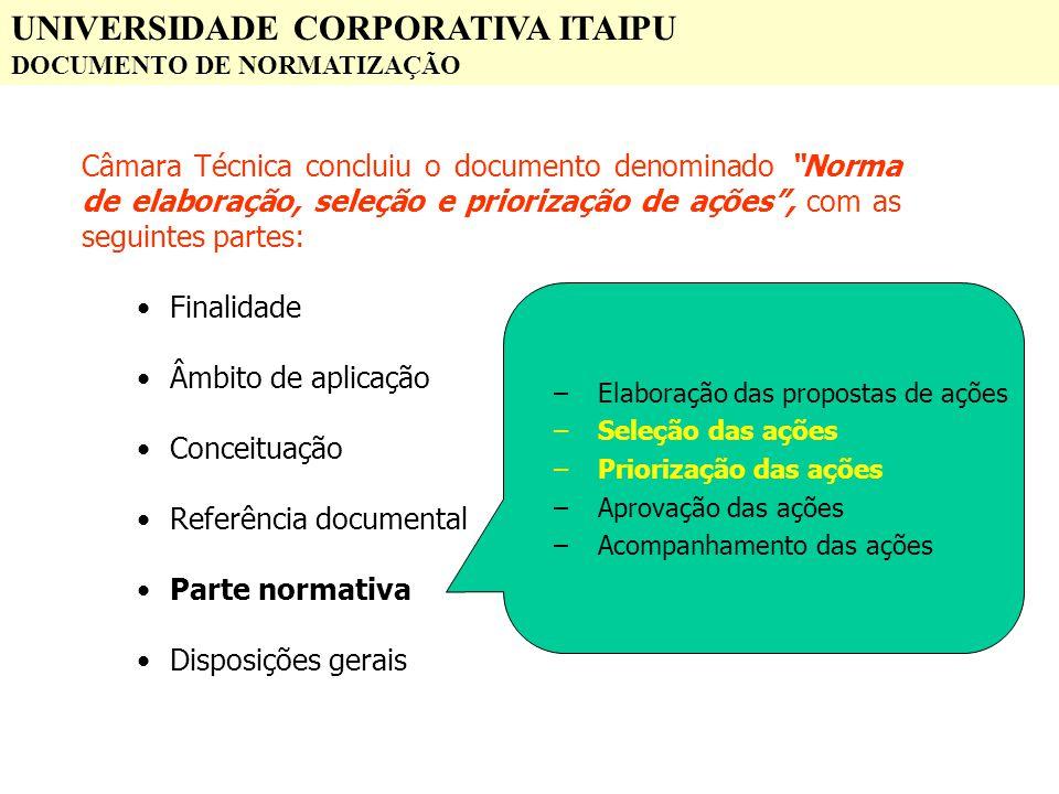 UNIVERSIDADE CORPORATIVA ITAIPU DOCUMENTO DE NORMATIZAÇÃO Câmara Técnica concluiu o documento denominado Norma de elaboração, seleção e priorização de