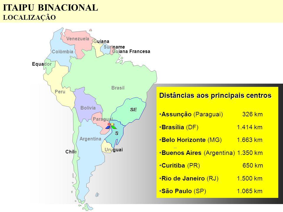 Distâncias aos principais centros Assunção (Paraguai) 326 km Brasília (DF) 1.414 km Belo Horizonte (MG) 1.663 km Buenos Aires (Argentina)1.350 km Curi