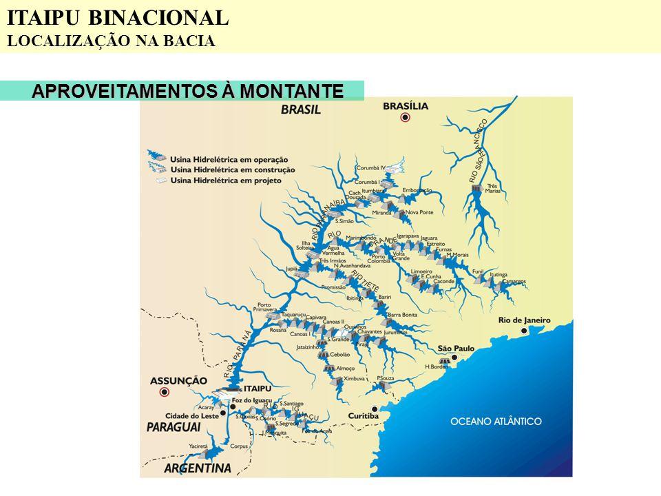 APROVEITAMENTOS À MONTANTE ITAIPU BINACIONAL LOCALIZAÇÃO NA BACIA