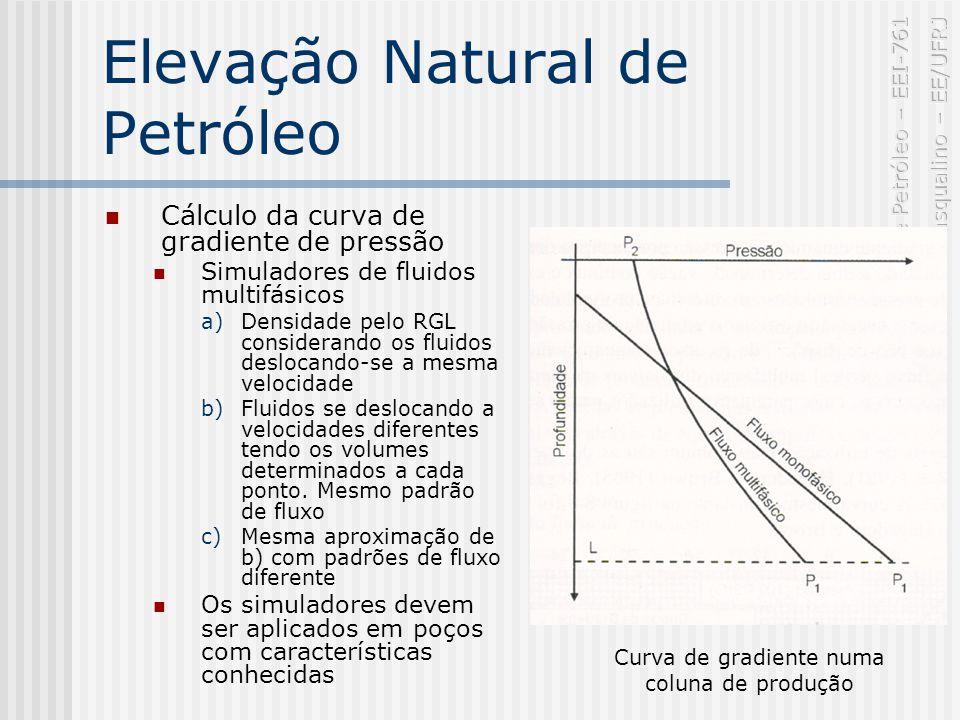 Elevação Natural de Petróleo Cálculo da curva de gradiente de pressão Simuladores de fluidos multifásicos a)Densidade pelo RGL considerando os fluidos deslocando-se a mesma velocidade b)Fluidos se deslocando a velocidades diferentes tendo os volumes determinados a cada ponto.