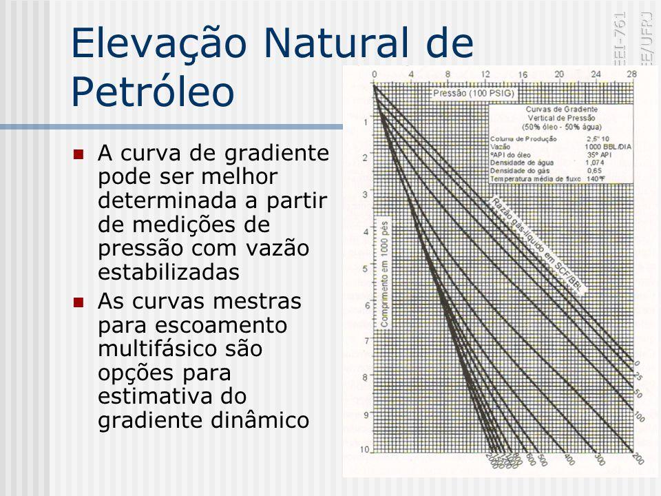 Elevação Natural de Petróleo A curva de gradiente pode ser melhor determinada a partir de medições de pressão com vazão estabilizadas As curvas mestras para escoamento multifásico são opções para estimativa do gradiente dinâmico