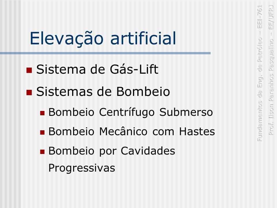 Elevação artificial Sistema de Gás-Lift Sistemas de Bombeio Bombeio Centrífugo Submerso Bombeio Mecânico com Hastes Bombeio por Cavidades Progressivas