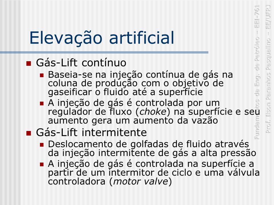 Elevação artificial Gás-Lift contínuo Baseia-se na injeção contínua de gás na coluna de produção com o objetivo de gaseificar o fluido até a superfície A injeção de gás é controlada por um regulador de fluxo (choke) na superfície e seu aumento gera um aumento da vazão Gás-Lift intermitente Deslocamento de golfadas de fluido através da injeção intermitente de gás a alta pressão A injeção de gás é controlada na superfície a partir de um intermitor de ciclo e uma válvula controladora (motor valve)