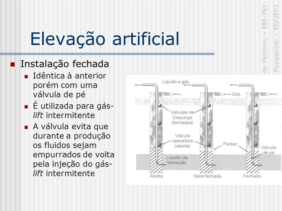 Elevação artificial Instalação fechada Idêntica à anterior porém com uma válvula de pé É utilizada para gás- lift intermitente A válvula evita que durante a produção os fluidos sejam empurrados de volta pela injeção do gás- lift intermitente