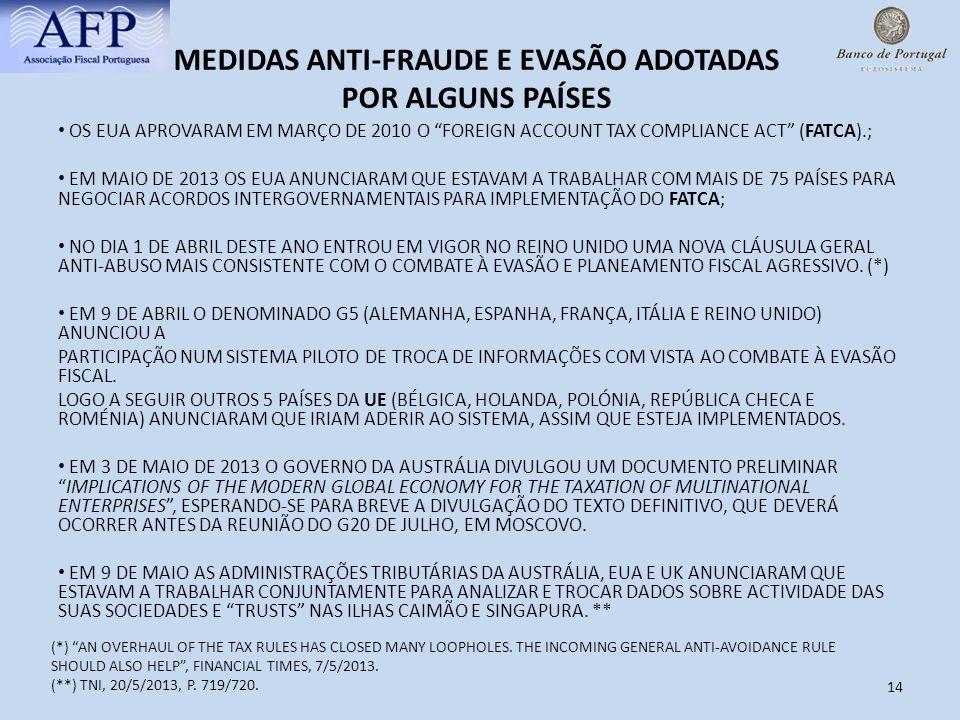 14 MEDIDAS ANTI-FRAUDE E EVASÃO ADOTADAS POR ALGUNS PAÍSES OS EUA APROVARAM EM MARÇO DE 2010 O FOREIGN ACCOUNT TAX COMPLIANCE ACT (FATCA).; EM MAIO DE