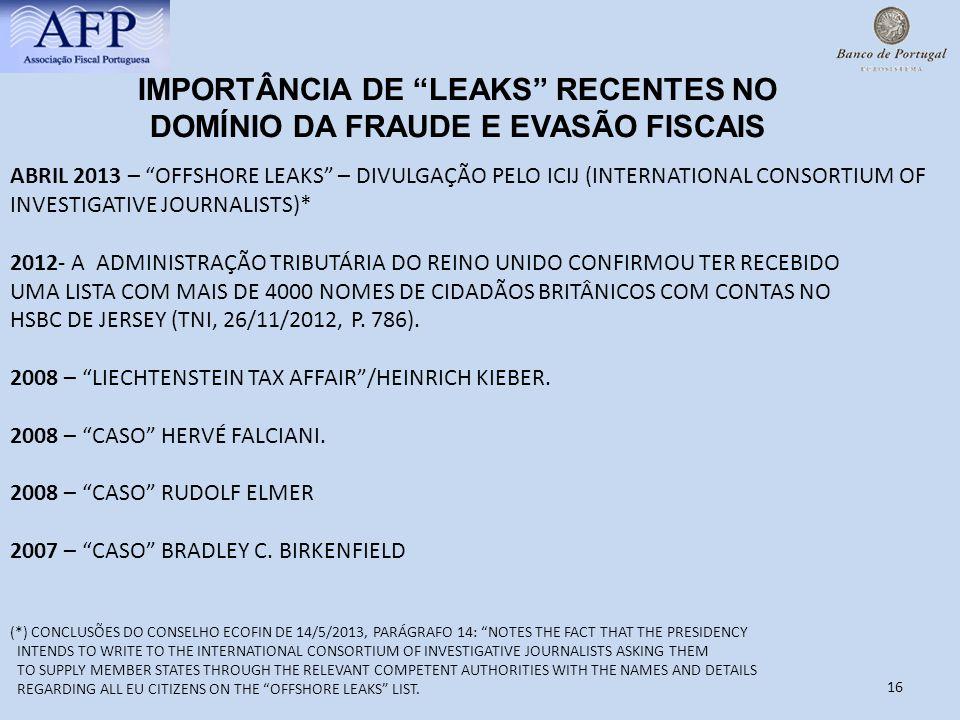 16 IMPORTÂNCIA DE LEAKS RECENTES NO DOMÍNIO DA FRAUDE E EVASÃO FISCAIS ABRIL 2013 – OFFSHORE LEAKS – DIVULGAÇÃO PELO ICIJ (INTERNATIONAL CONSORTIUM OF