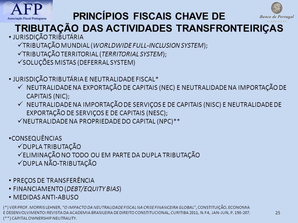 25 PRINCÍPIOS FISCAIS CHAVE DE TRIBUTAÇÃO DAS ACTIVIDADES TRANSFRONTEIRIÇAS JURISDIÇÃO TRIBUTÁRIA TRIBUTAÇÃO MUNDIAL (WORLDWIDE FULL-INCLUSION SYSTEM)