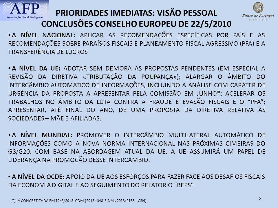 8 PRIORIDADES IMEDIATAS: VISÃO PESSOAL CONCLUSÕES CONSELHO EUROPEU DE 22/5/2010 A NÍVEL NACIONAL: APLICAR AS RECOMENDAÇÕES ESPECÍFICAS POR PAÍS E AS R