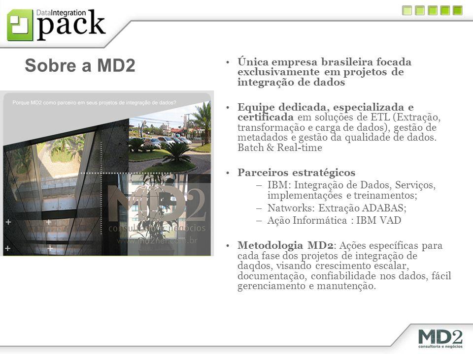 Sobre a MD2 FOCO 100% EM INTEGRAÇÃO DE DADOS Única empresa brasileira focada exclusivamente em projetos de integração de dados Equipe dedicada, especializada e certificada em soluções de ETL (Extração, transformação e carga de dados), gestão de metadados e gestão da qualidade de dados.