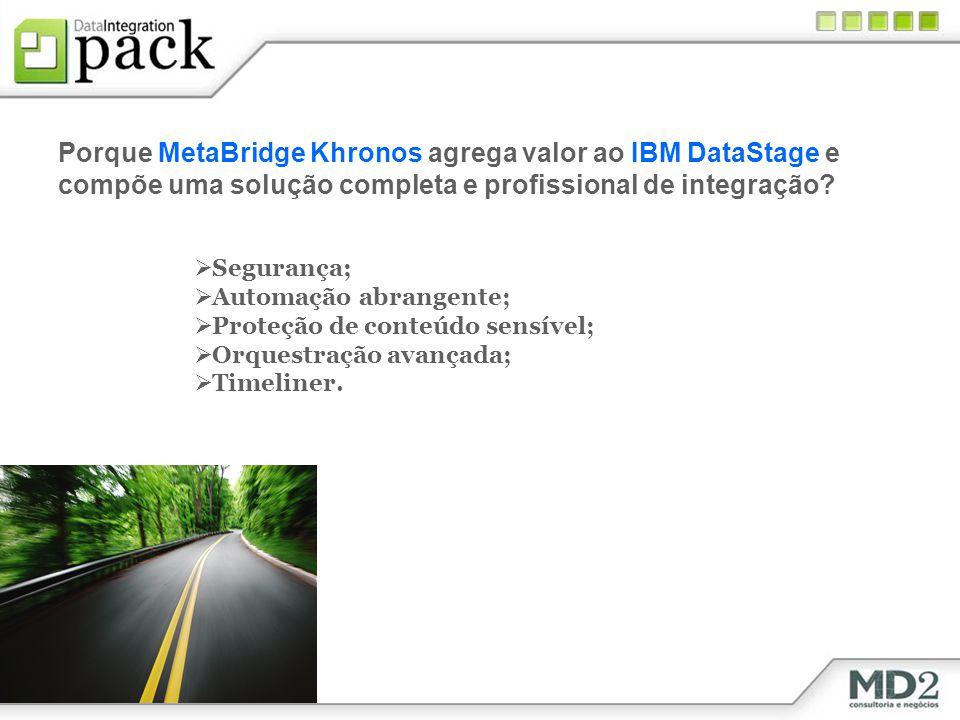 Porque MetaBridge Khronos agrega valor ao IBM DataStage e compõe uma solução completa e profissional de integração? Segurança; Automação abrangente; P