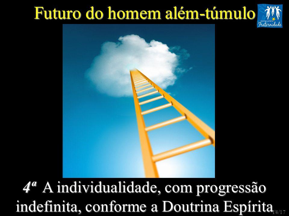4ª A individualidade, com progressão indefinita, conforme a Doutrina Espírita indefinita, conforme a Doutrina Espírita. Futuro do homem além-túmulo 14
