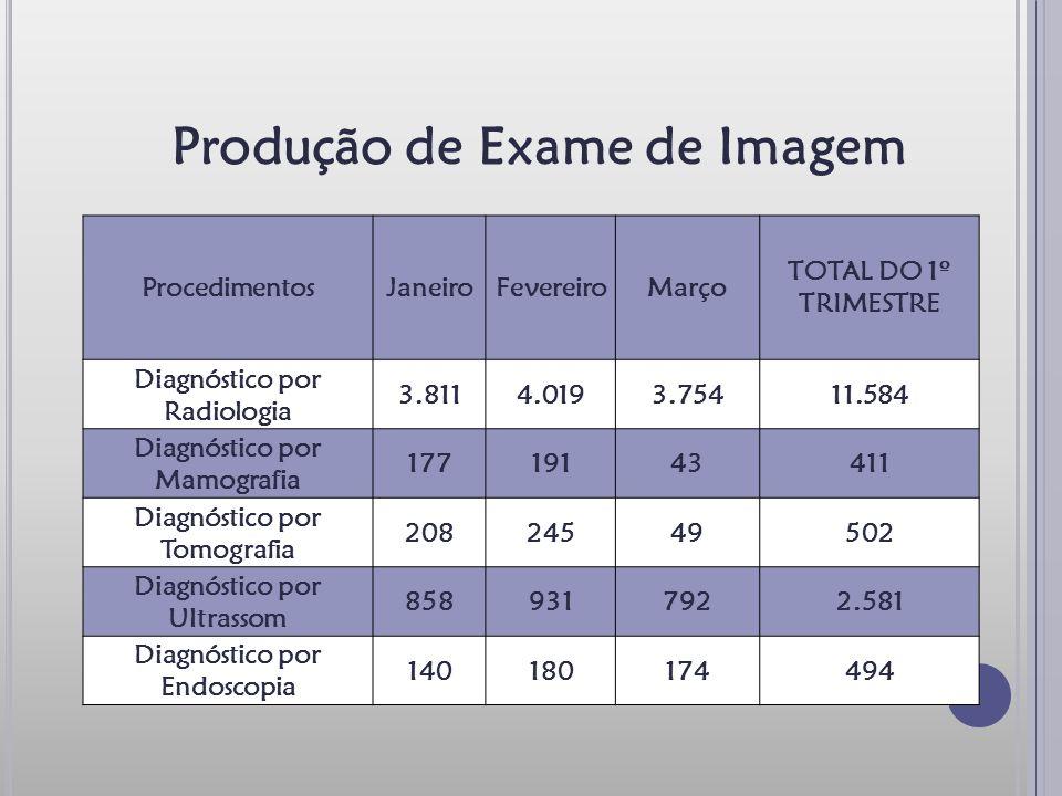Produção de Exame de Imagem ProcedimentosJaneiroFevereiroMarço TOTAL DO 1º TRIMESTRE Diagnóstico por Radiologia 3.8114.0193.75411.584 Diagnóstico por Mamografia 17719143411 Diagnóstico por Tomografia 20824549502 Diagnóstico por Ultrassom 8589317922.581 Diagnóstico por Endoscopia 140180174494
