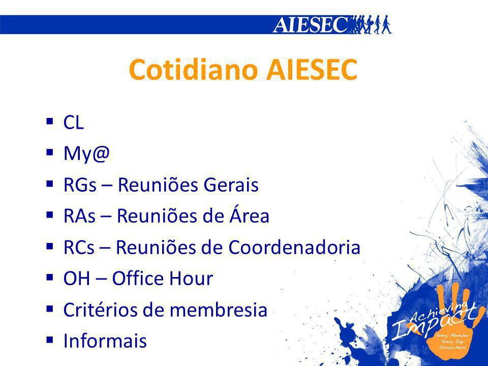 CL My@ RGs – Reuniões Gerais RAs – Reuniões de Área RCs – Reuniões de Coordenadoria OH – Office Hour Critérios de membresia Informais Cotidiano AIESEC