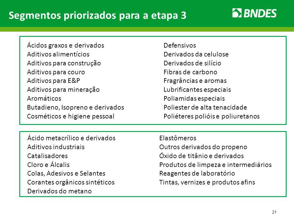 21 Segmentos priorizados para a etapa 3 Ácidos graxos e derivados Aditivos alimentícios Aditivos para construção Aditivos para couro Aditivos para E&P