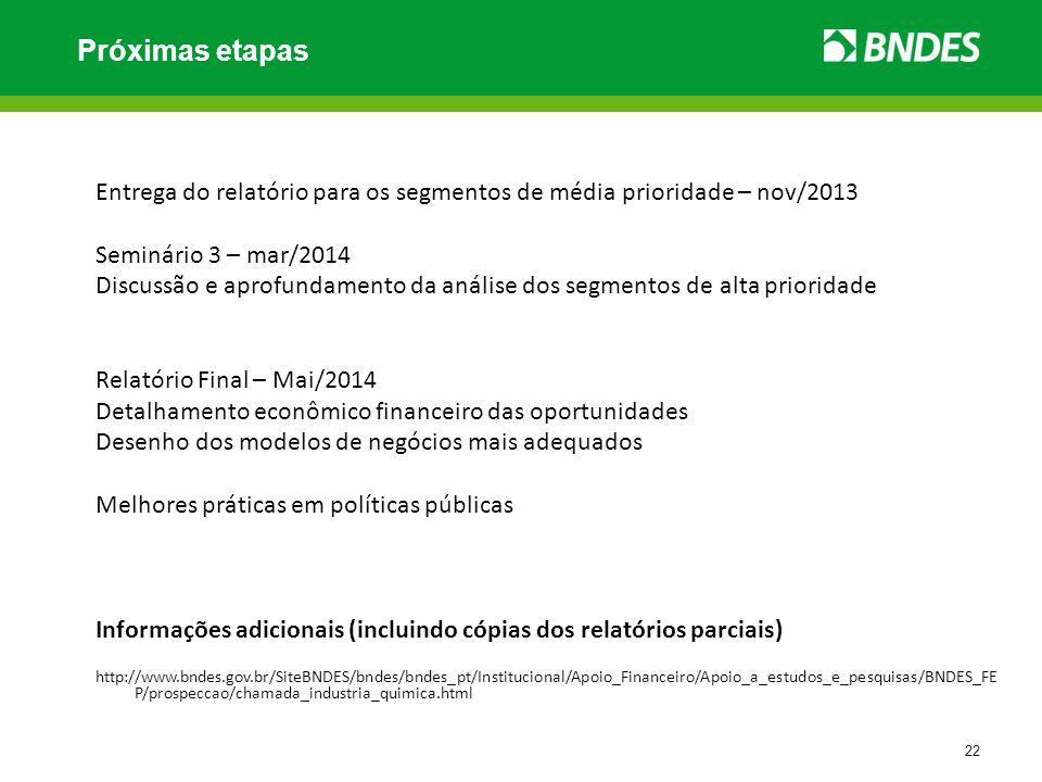 22 Entrega do relatório para os segmentos de média prioridade – nov/2013 Seminário 3 – mar/2014 Discussão e aprofundamento da análise dos segmentos de