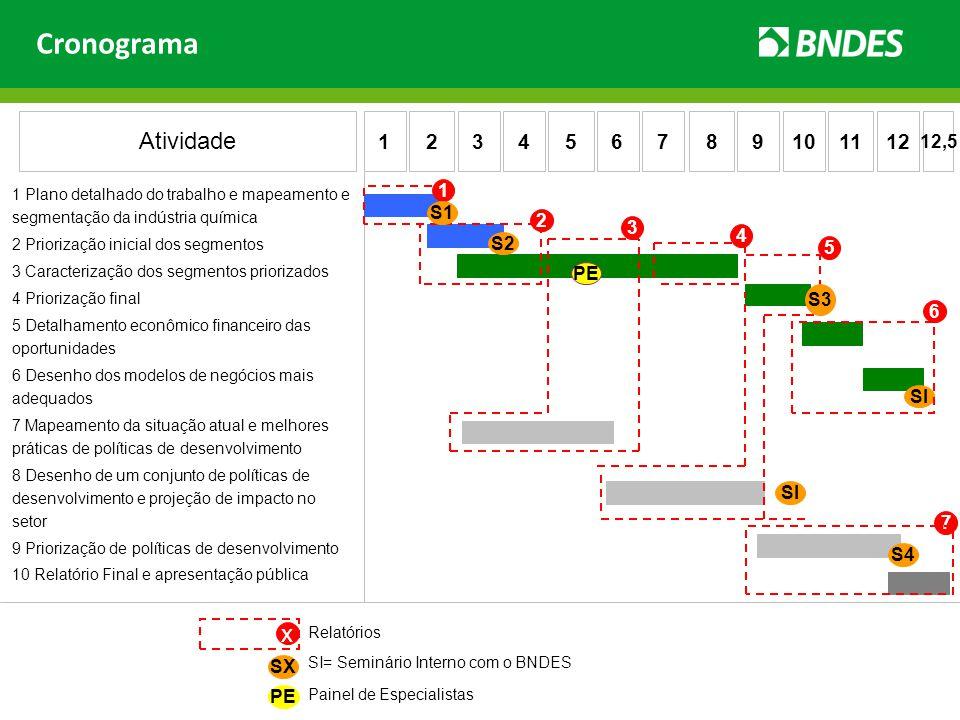 Cronograma 1 Plano detalhado do trabalho e mapeamento e segmentação da indústria química 2 Priorização inicial dos segmentos 3 Caracterização dos segm