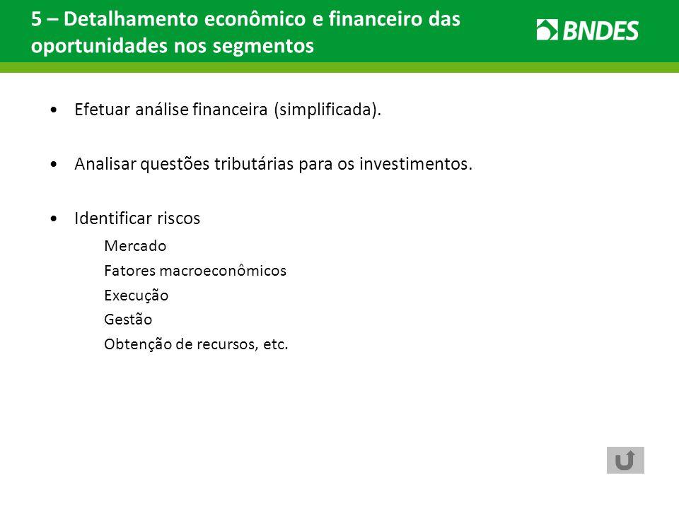 Efetuar análise financeira (simplificada). Analisar questões tributárias para os investimentos. Identificar riscos Mercado Fatores macroeconômicos Exe