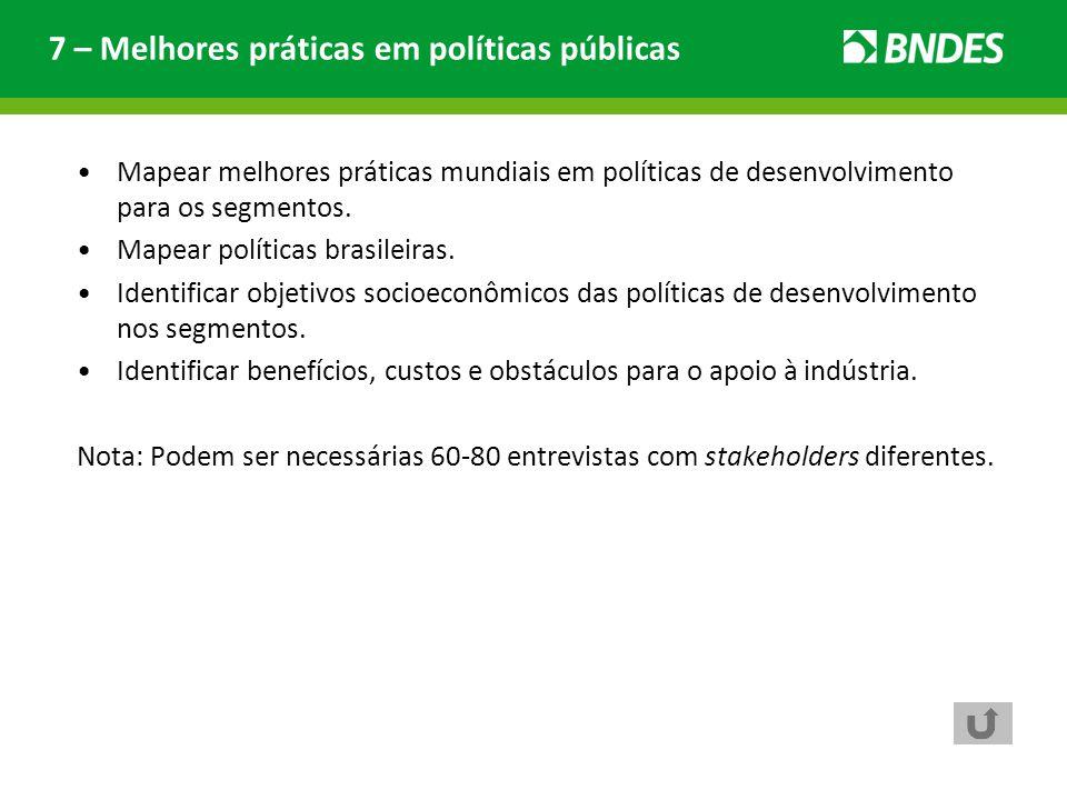 Mapear melhores práticas mundiais em políticas de desenvolvimento para os segmentos. Mapear políticas brasileiras. Identificar objetivos socioeconômic
