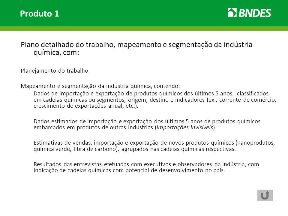 Plano detalhado do trabalho, mapeamento e segmentação da indústria química, com: Planejamento do trabalho Mapeamento e segmentação da indústria químic