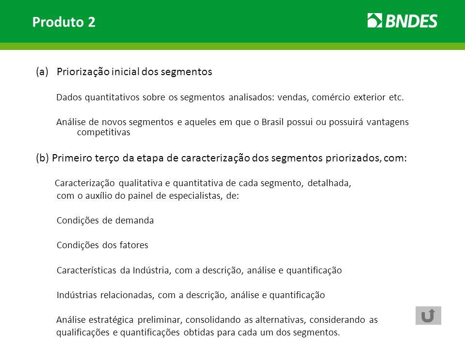 (a)Priorização inicial dos segmentos Dados quantitativos sobre os segmentos analisados: vendas, comércio exterior etc. Análise de novos segmentos e aq