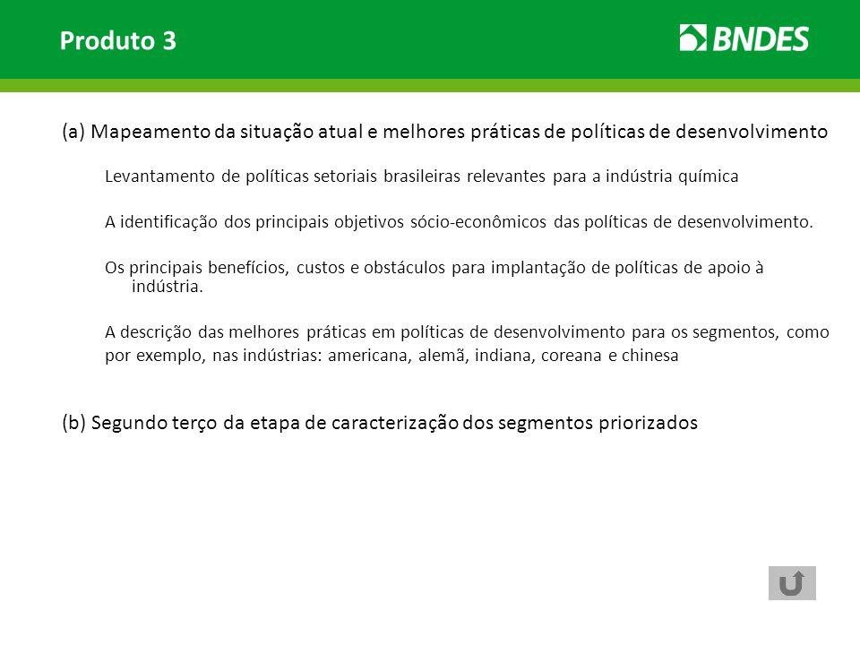 (a) Mapeamento da situação atual e melhores práticas de políticas de desenvolvimento Levantamento de políticas setoriais brasileiras relevantes para a