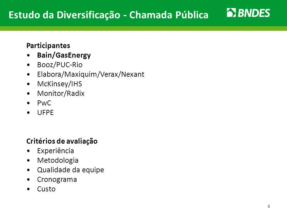 6 Estudo da Diversificação - Chamada Pública Participantes Bain/GasEnergy Booz/PUC-Rio Elabora/Maxiquim/Verax/Nexant McKinsey/IHS Monitor/Radix PwC UF