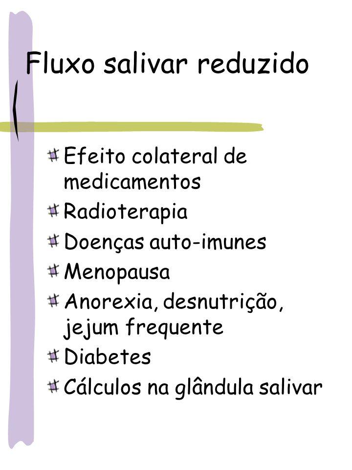 Fluxo salivar reduzido Efeito colateral de medicamentos Radioterapia Doenças auto-imunes Menopausa Anorexia, desnutrição, jejum frequente Diabetes Cál