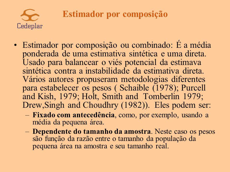 Estimador por composição –Dependente dos dados.