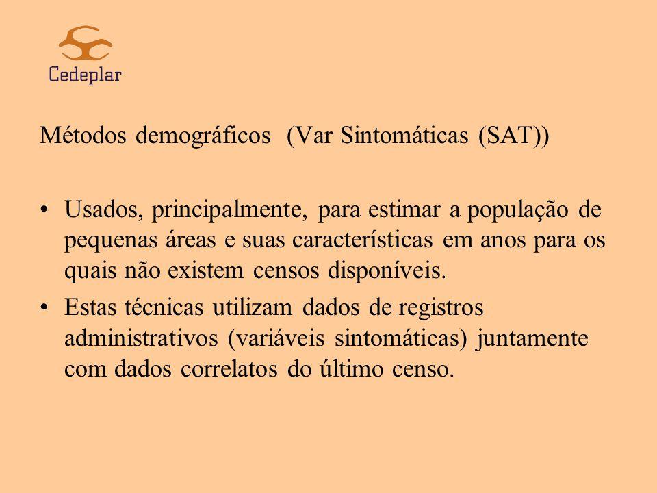 Exemplos de variáveis sintomáticas: número de nascimentos, mortes, novas unidades de moradia, matrículas escolares, etc.