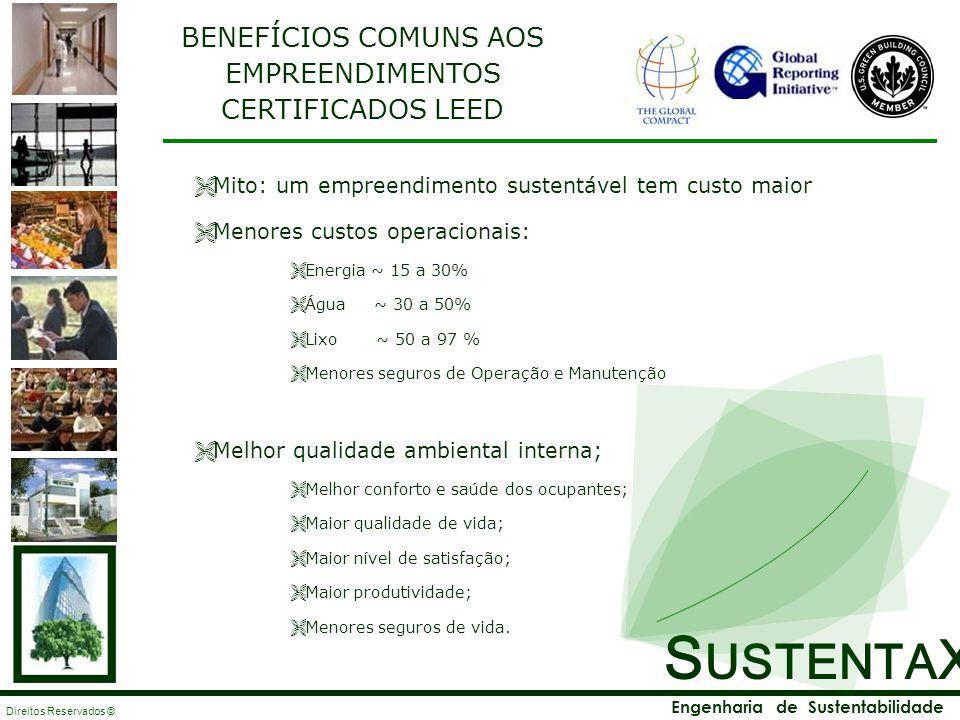 S USTENTA X Engenharia de Sustentabilidade Direitos Reservados © BENEFÍCIOS COMUNS AOS EMPREENDIMENTOS CERTIFICADOS LEED Mito: um empreendimento suste