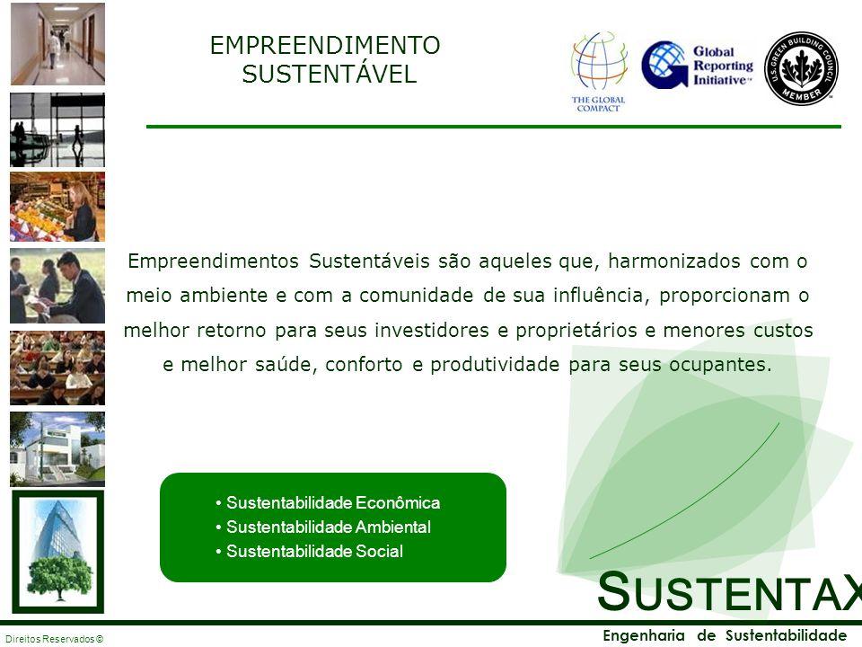 S USTENTA X Engenharia de Sustentabilidade Direitos Reservados © Empreendimentos Sustentáveis são aqueles que, harmonizados com o meio ambiente e com