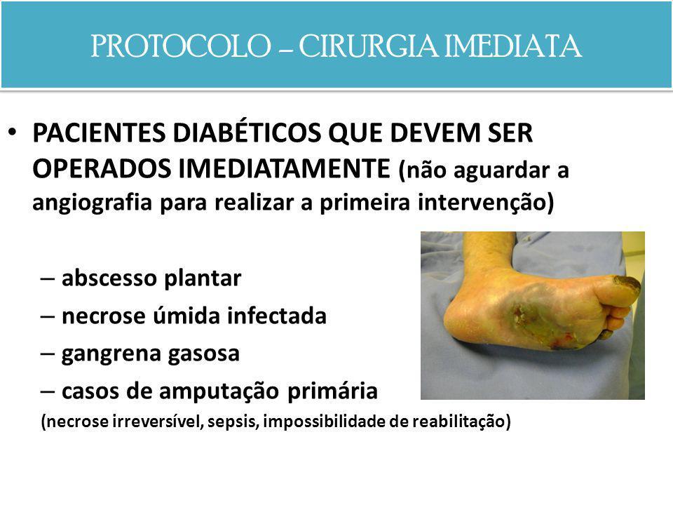 PROTOCOLO – CIRURGIA IMEDIATA PACIENTES DIABÉTICOS QUE DEVEM SER OPERADOS IMEDIATAMENTE ! (não aguardar a angiografia para realizar a primeira interve