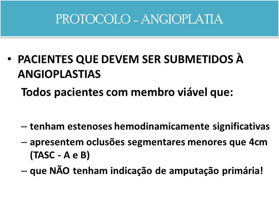 PROTOCOLO - ANGIOPLATIA PACIENTES QUE DEVEM SER SUBMETIDOS À ANGIOPLASTIAS Todos pacientes com membro viável que: – tenham estenoses hemodinamicamente