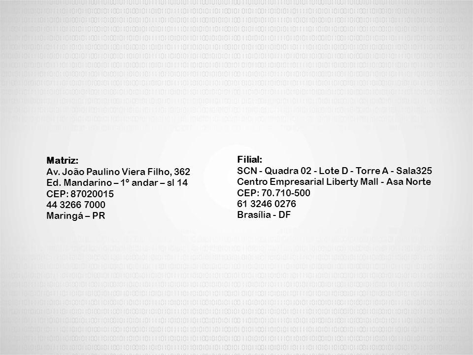 Filial: SCN - Quadra 02 - Lote D - Torre A - Sala325 Centro Empresarial Liberty Mall - Asa Norte CEP: 70.710-500 61 3246 0276 Brasília - DF Matriz: Av