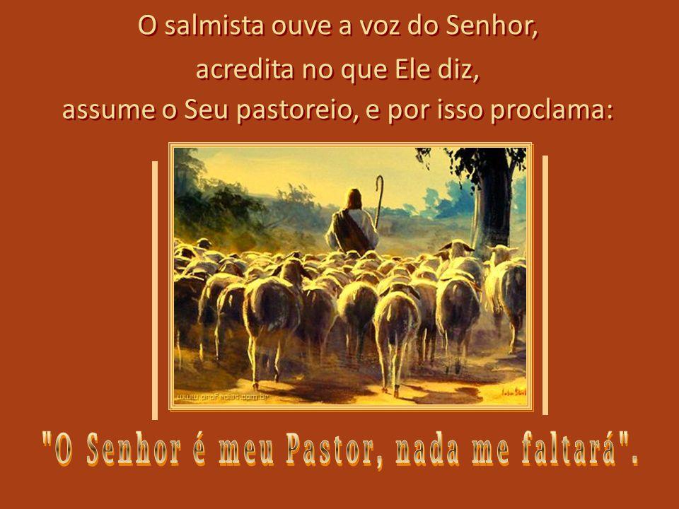 O salmista ouve a voz do Senhor, acredita no que Ele diz, assume o Seu pastoreio, e por isso proclama: O salmista ouve a voz do Senhor, acredita no que Ele diz, assume o Seu pastoreio, e por isso proclama: