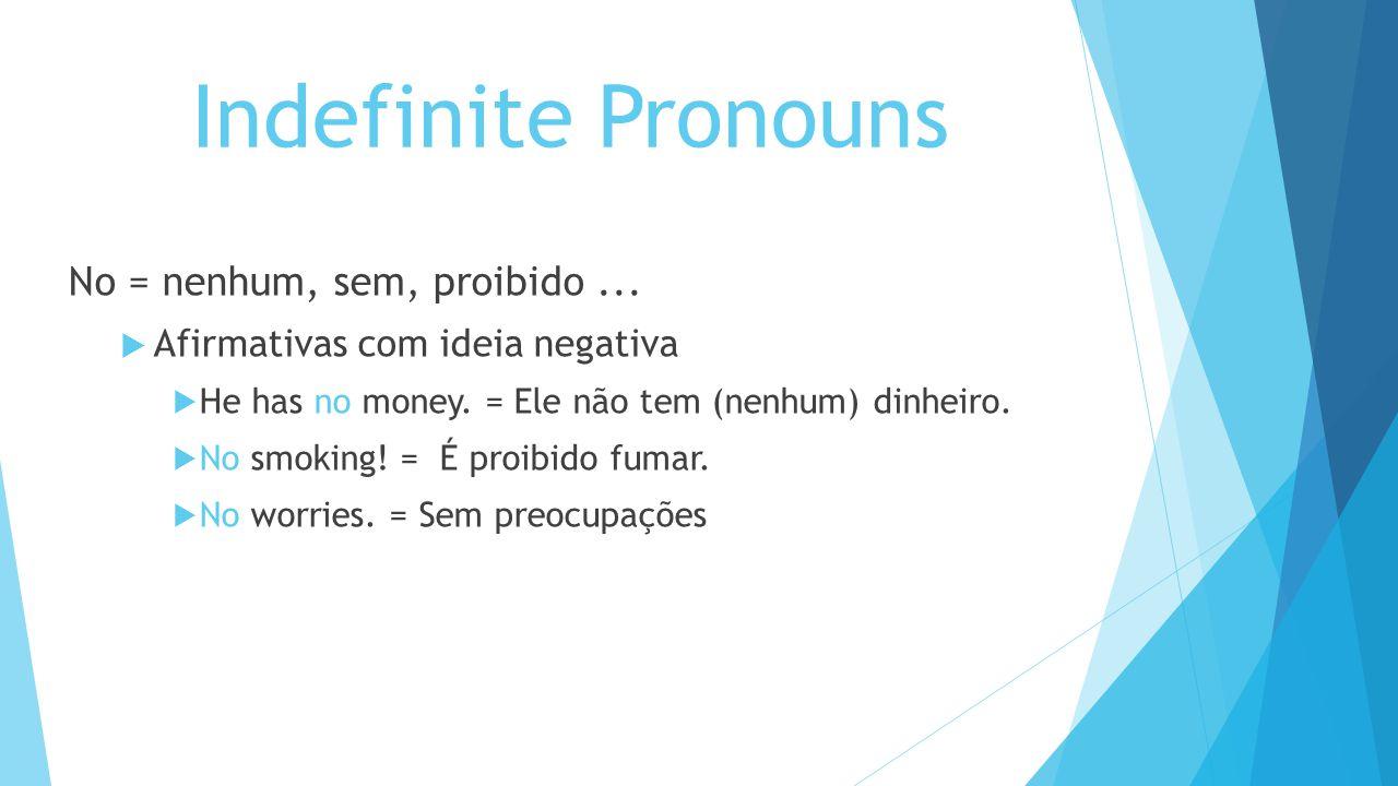 Indefinite Pronouns No = nenhum, sem, proibido... Afirmativas com ideia negativa He has no money. = Ele não tem (nenhum) dinheiro. No smoking! = É pro