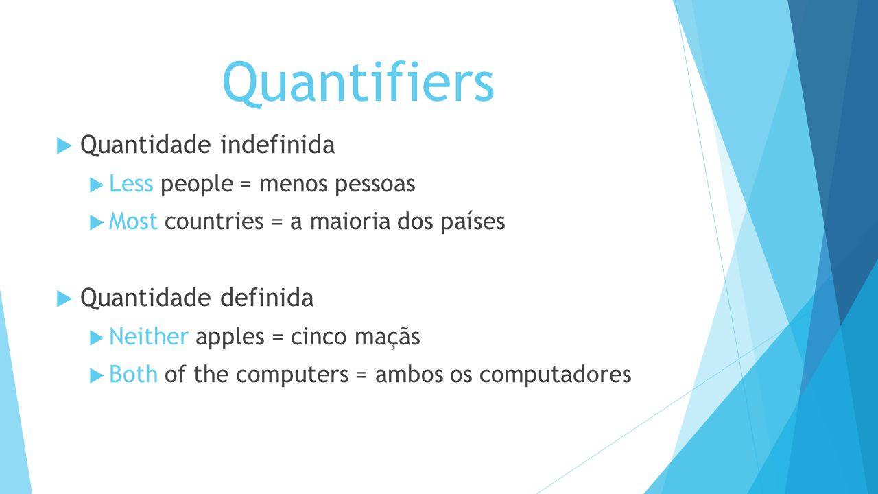Quantifiers Quantidade indefinida Less people = menos pessoas Most countries = a maioria dos países Quantidade definida Neither apples = cinco maçãs B