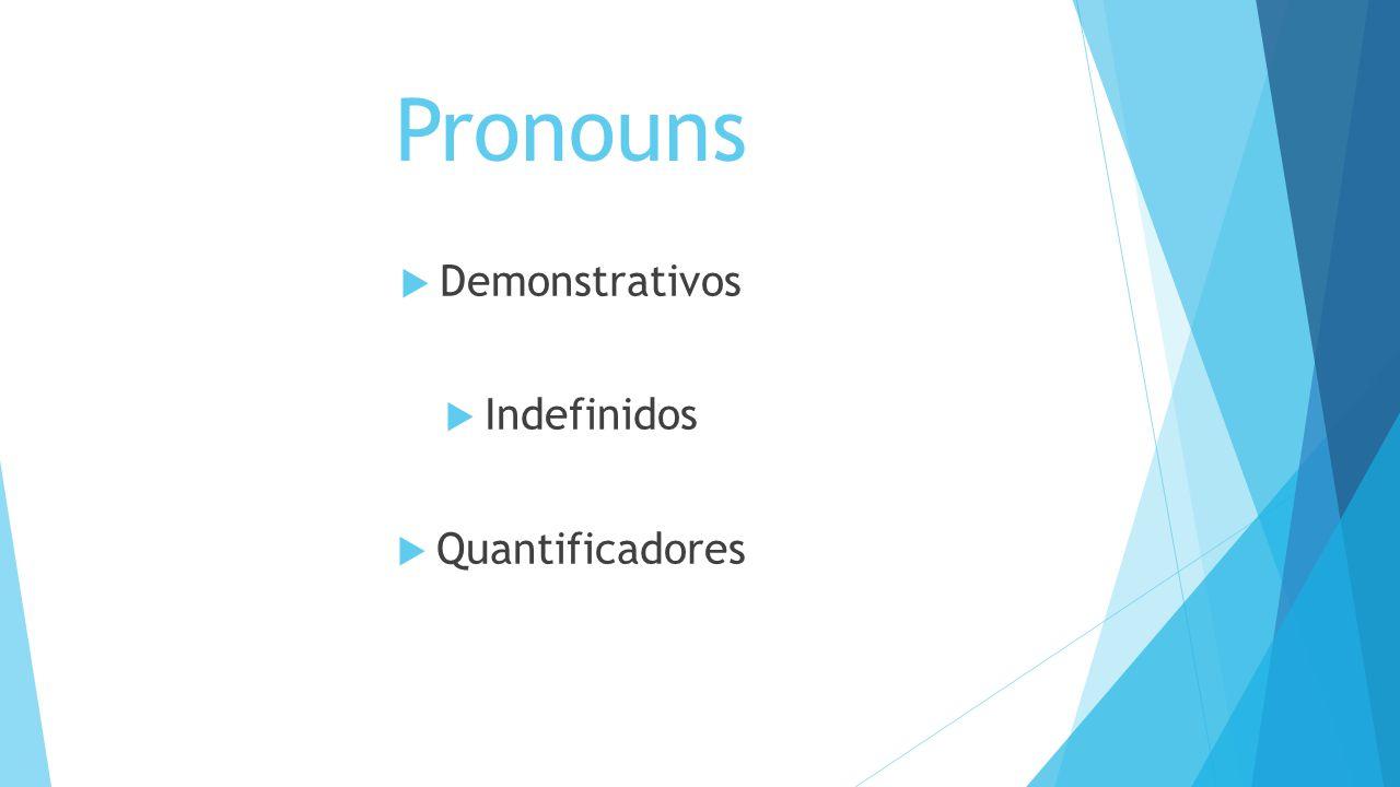 Demonstrative Pronouns Determinam substantivos de acordo com sua posição em relação a outros ou ao contexto Proximidade This = este, esta, isto These = estes, estas Distância That = aquele, aquela, aquilo, esse, essa Those = aqueles, aquelas, esses, essas