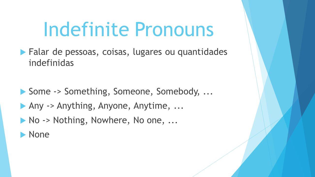 Indefinite Pronouns Some = uns, alguns, um pouco, cerca de,...