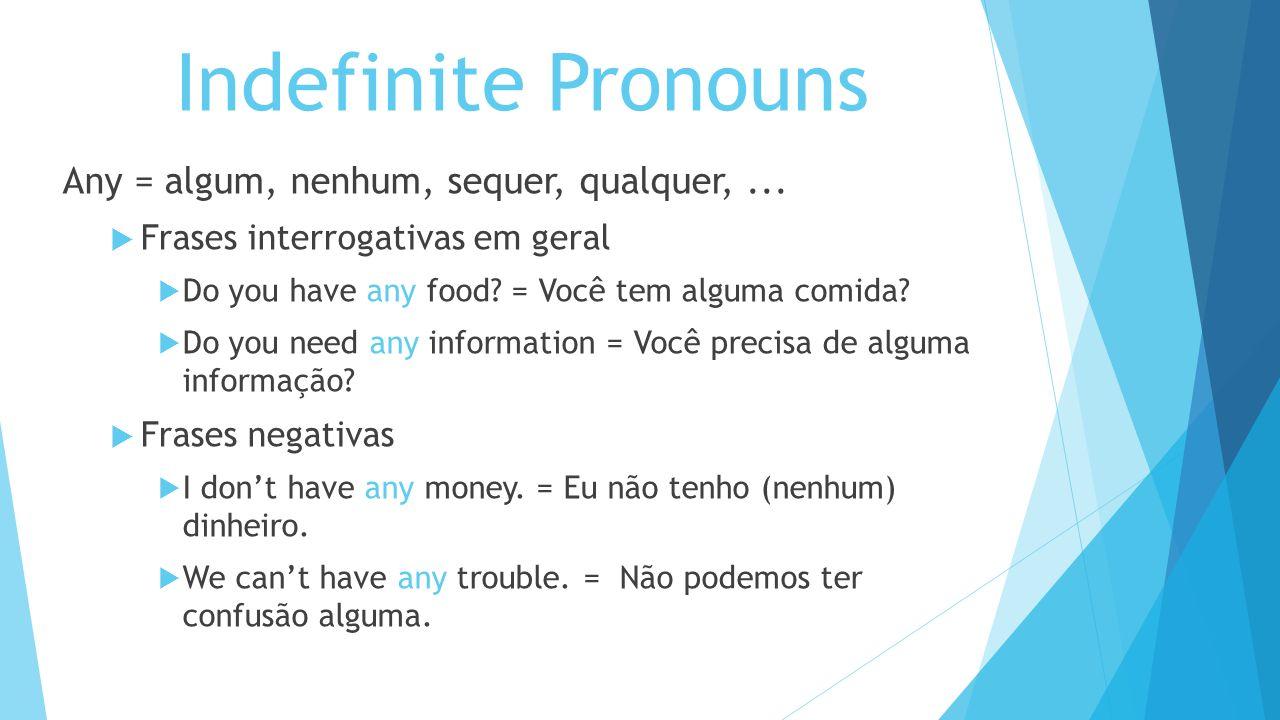 Indefinite Pronouns Any = algum, nenhum, sequer, qualquer,... Frases interrogativas em geral Do you have any food? = Você tem alguma comida? Do you ne