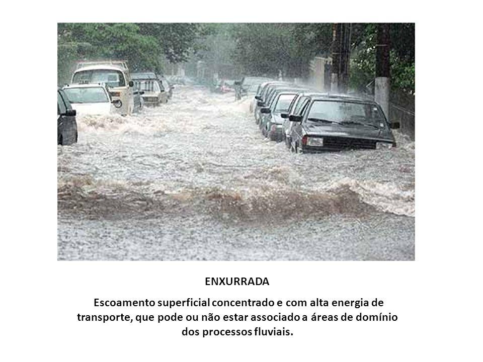ENXURRADA Escoamento superficial concentrado e com alta energia de transporte, que pode ou não estar associado a áreas de domínio dos processos fluvia