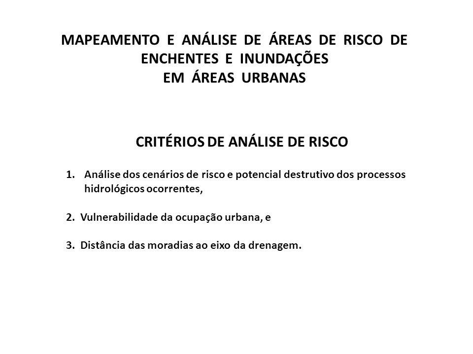 CRITÉRIOS DE ANÁLISE DE RISCO 1.Análise dos cenários de risco e potencial destrutivo dos processos hidrológicos ocorrentes, 2. Vulnerabilidade da ocup