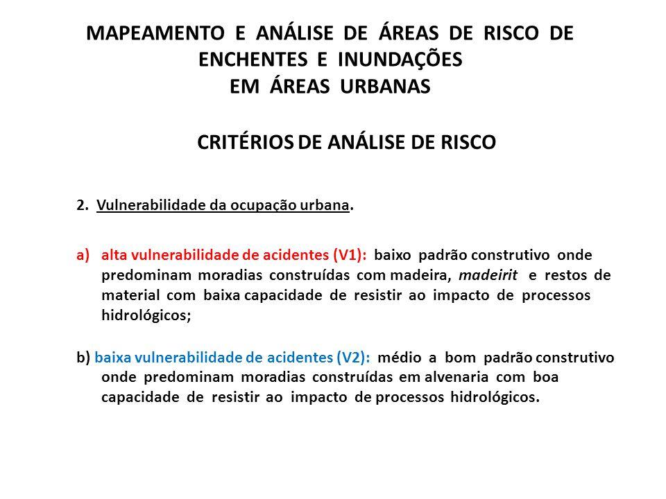 CRITÉRIOS DE ANÁLISE DE RISCO 2. Vulnerabilidade da ocupação urbana. a)alta vulnerabilidade de acidentes (V1): baixo padrão construtivo onde predomina