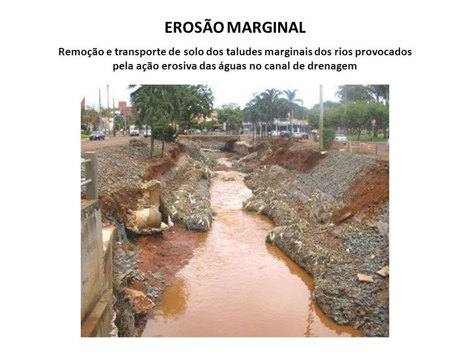 EROSÃO MARGINAL Remoção e transporte de solo dos taludes marginais dos rios provocados pela ação erosiva das águas no canal de drenagem